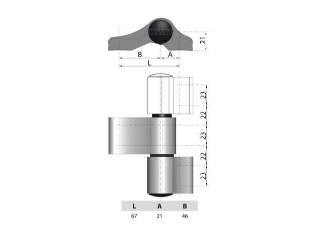 Zawias WALA WX 80104564 2-skrzydełkowy niesymetryczny L=67 inox