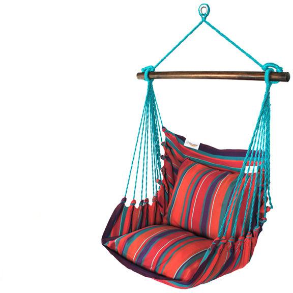 Fotel hamakowy, czerwono-błękitny HC9