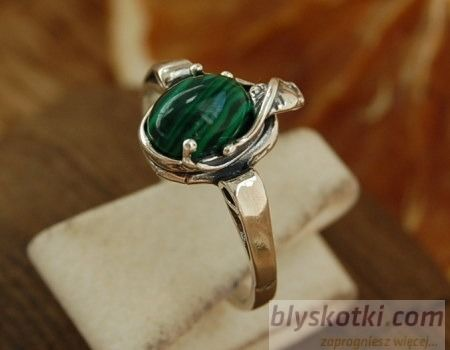 Lago - srebrny pierścionek z malachitem