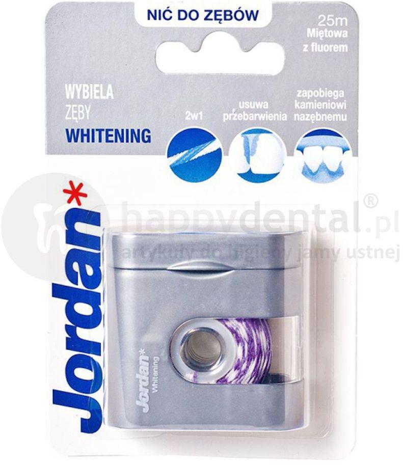 JORDAN Floss WHITENING 25m - wybielająca nić dentystyczna z fluorem o smaku mięty