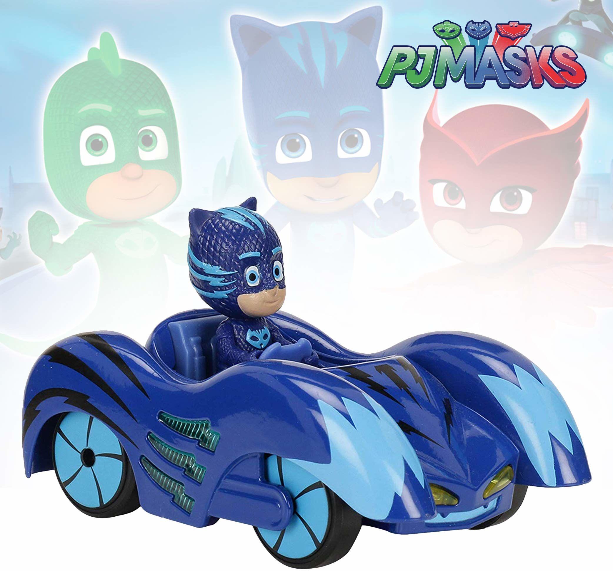 Dickie Toys PJ Masks Mission Racer Cat-Car, Die-Cast pojazd z wolnym biegiem, światło i dźwięk, gra melodię tytułową z serii, w tym figurka Catboy, 12 cm, niebieski, z bateriami