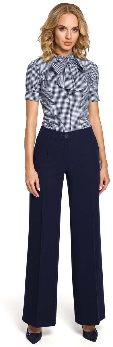 Granatowe spodnie eleganckie szerokie w kant