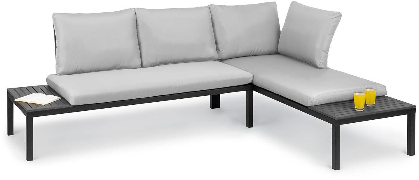 Blumfeldt Cartagena Lounger zestaw 2 sztuk 2-osobowych kanap ogrodowych ze stołem, stal, poliester