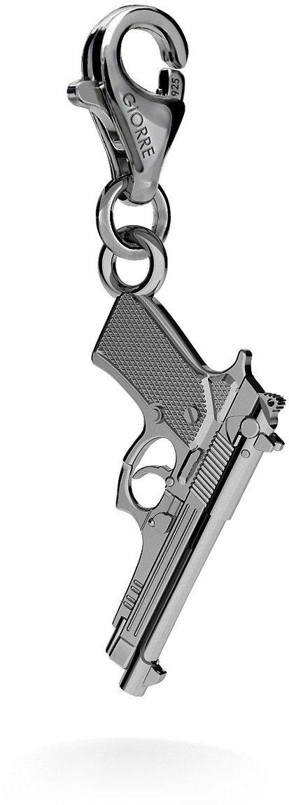 Srebrny charms zawieszka beads pistolet beretta, srebro 925 : Srebro - kolor pokrycia - Pokrycie platyną, Wariant - Zawieszka