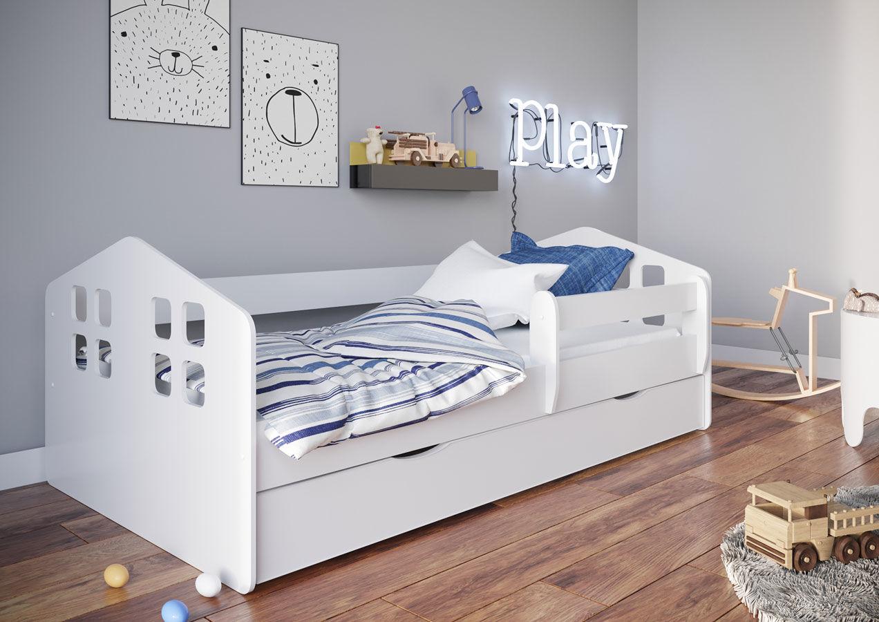 Białe łóżko dziecięce z materacem 80x140 - Flavio
