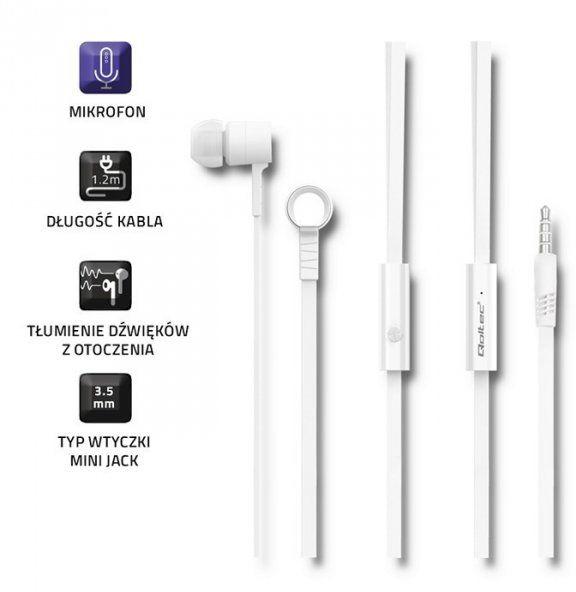 Qoltec Słuchawki dokanałowe mikrofon białe