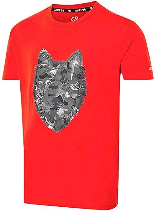 Dare2b Dziecięce DKT426 657C11 Go Beyond'' nadrukowane bawełniane koszulki na co dzień/polo/kamizelki, ognista czerwień, 11-12