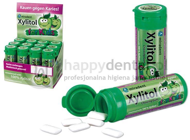 MIRADENT Xylitol Chewing Gum FOR KIDS 30sztuk - guma do żucia dla dzieci z ksylitolem przeciw próchnicy (smak: JABŁKO - APPLE)