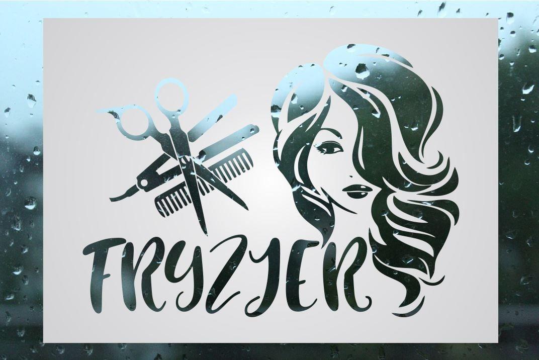 Naklejka fryzjerska mrożone szkło: kobieta