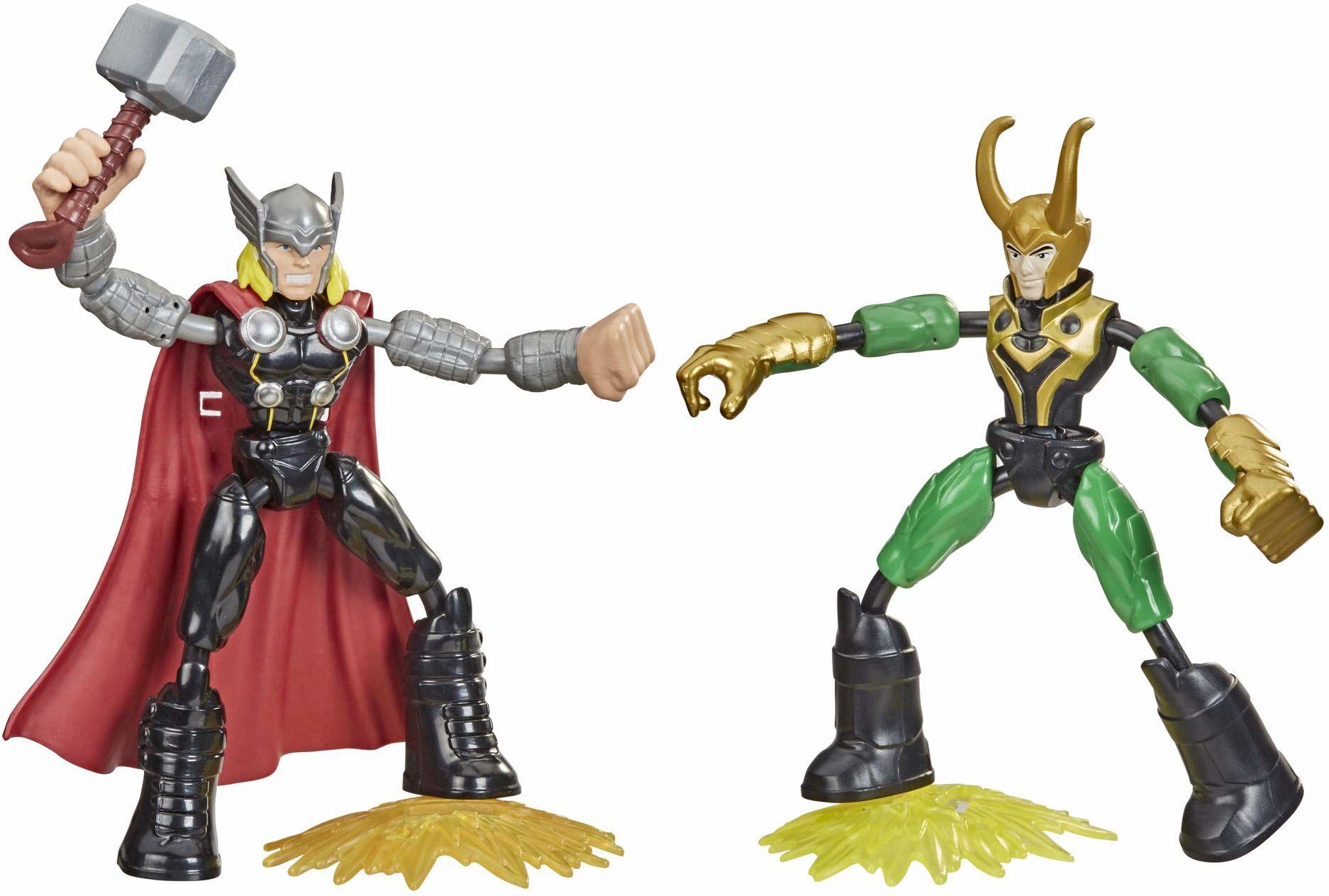 Thor kontra Loki, zginane i odkształcane figurki z kolekcji Marvel Avengers, zabawkowe 15-centymetrowe giętkie figurki, dołączono 2 akcesoria, dla dzieci w wieku od 4 lat