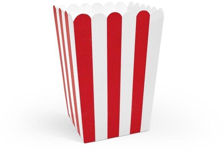 Pudełka na popcorn słodycze czerwone w białe paski 6 sztuk POP12-007