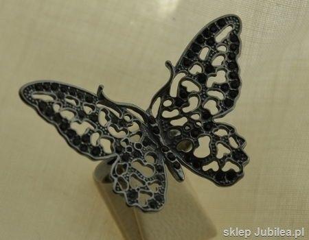 Czarny motyl - srebrny pierścień z onyksami