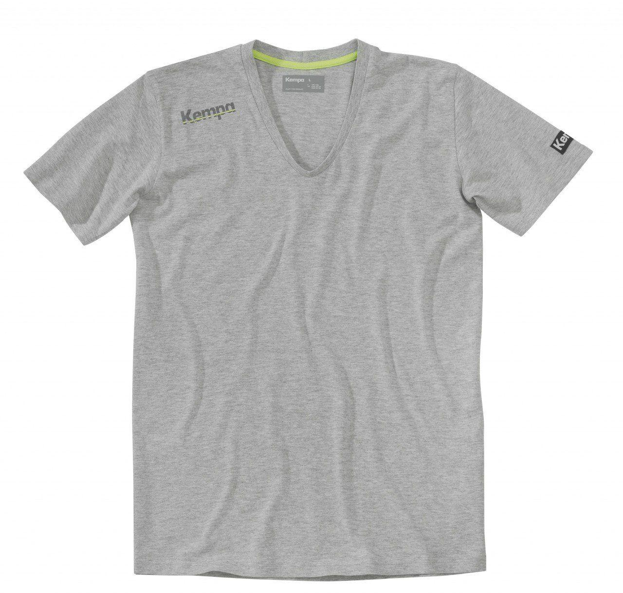 Kempa Męski T-shirt Core kołnierzyk V, szary melanż, S