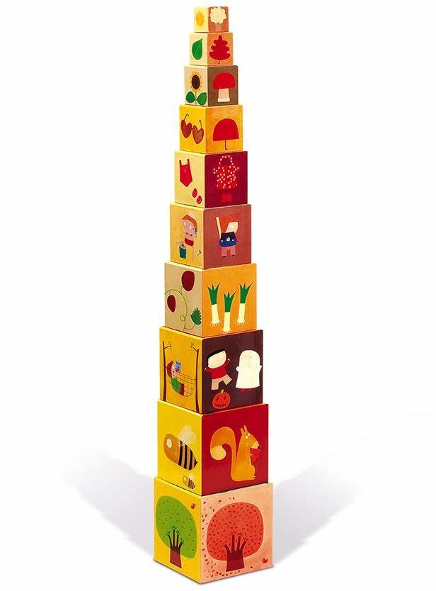 """Janod J02917 """"The 4 Seasons"""" kwadratowa piramida z możliwością układania w stos, klocki, zabawka interakcyjna dla małych dzieci, dla dzieci od 1 roku życia"""