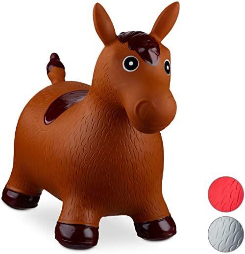 Relaxdays 10024991_93, brązowe zwierzę podskakujące z pompką, koń do 50 kg, kucyk do skakania, bez BPA, dla dzieci, zabawka do skakania