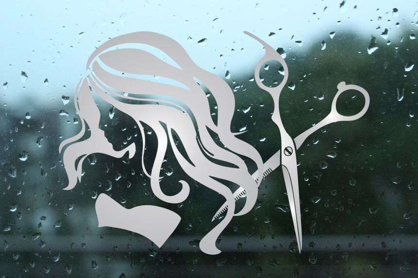 Naklejka fryzjerska mrożone szkło: nożyczki