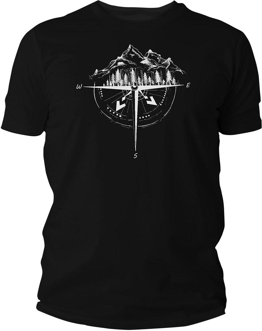 Koszulka T-Shirt TigerWood Róża Wiatrów - czarna