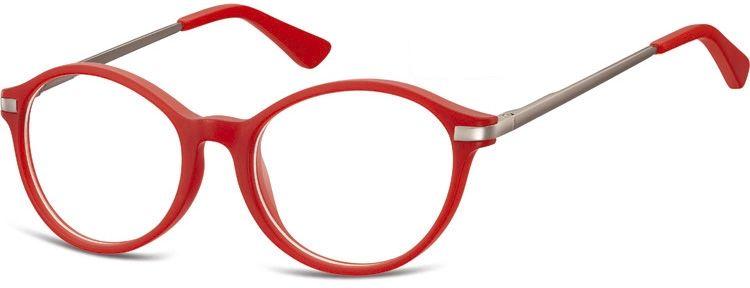 Okulary dziecięce zerówki okrągłe lenonki AK46 czerwone