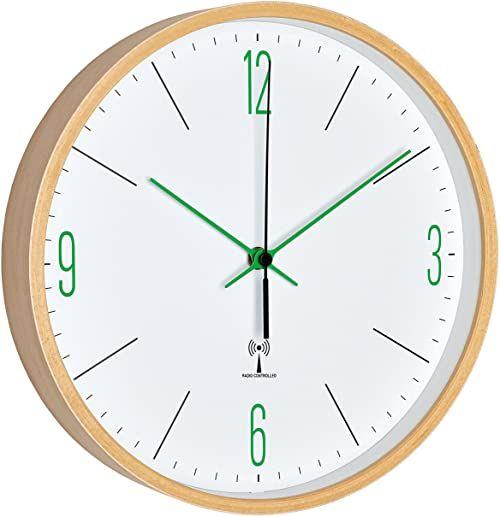 TFA Dostmann Analogowy zegar ścienny z ramą klonową, biały/zielony, 25,5 x 4,5 x 25,5 cm
