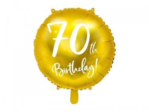 """Balon foliowy na 70 urodziny """"70th Birthday"""" złoty"""