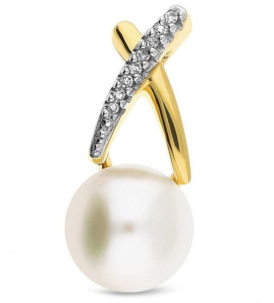 Złota zawieszka 585 z perełką i diamentami brylanty