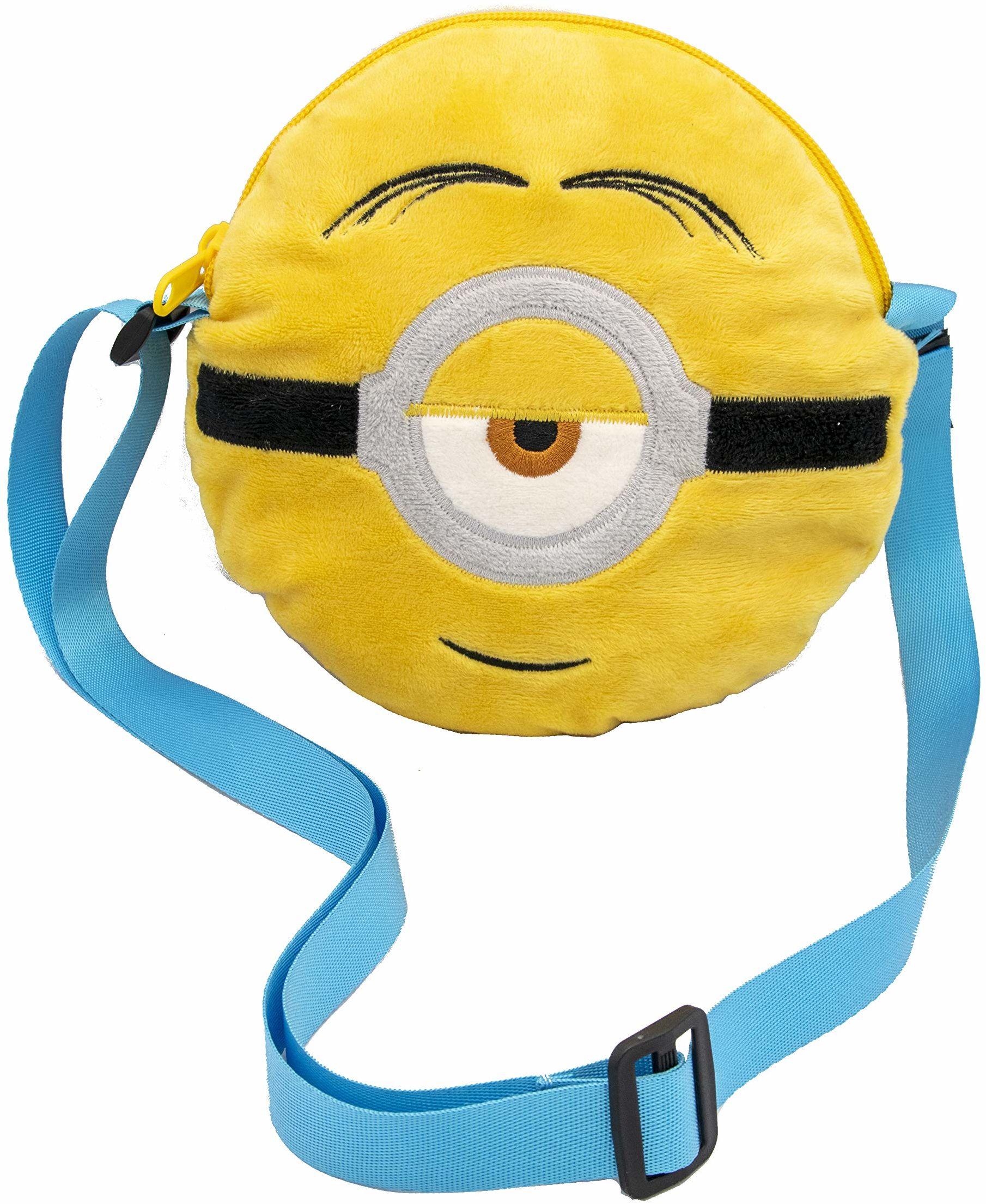 Joy Toy 20539 Minionki 2 okrągłe pluszowe torby z haftowanym wzorem: średnica 18 cm, wielokolorowe