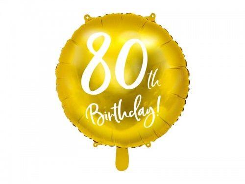 """Balon foliowy na 80 urodziny """"80th Birthday"""" złoty"""