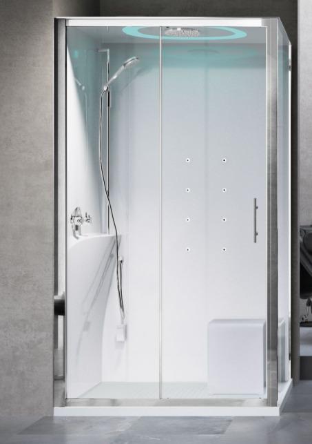 Novellini Eon kabina prostokątna z hydromasażem 120x80 lewa EON2P129ST1F-1AK