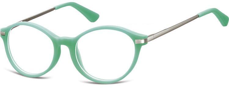 Okulary dziecięce zerówki okrągłe lenonki AK46B zielone (miętowe)