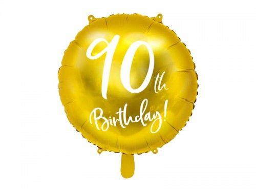 """Balon foliowy na 90 urodziny """"90th Birthday"""" złoty"""