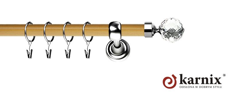 Karnisz Metalowy Prestige pojedynczy 25mm Beluna Crystal INOX - pinia