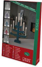 Konstsmide 3586-490 drewniany świecznik, lakierowany na niebiesko/szary/do wnętrz (IP20) / 7 jasnych żarówek / 230 V wewnątrz/biały kabel