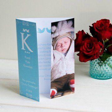 Z okazji chrztu chłopca - kartka składana z życzeniami