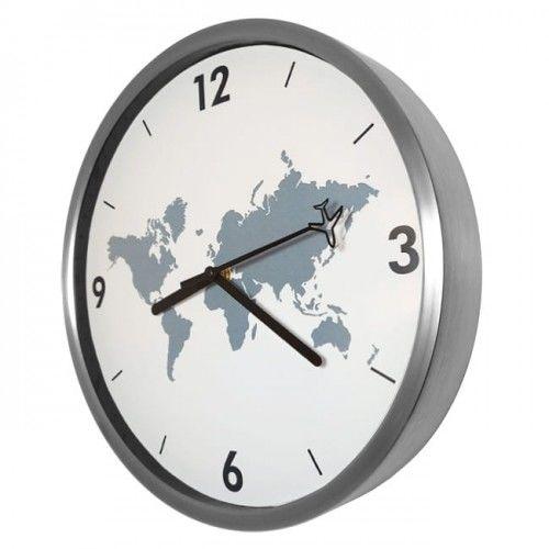 Zegar dookoła świata aluminiowy s.cichy /30cm