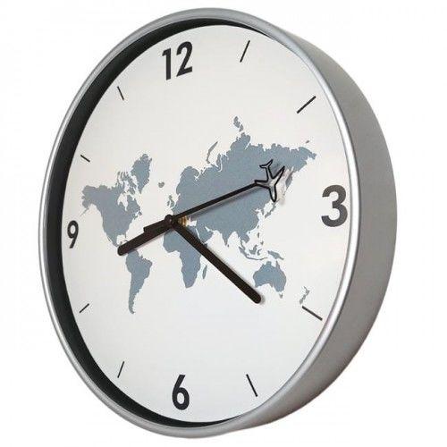 Zegar dookoła świata srebrny super cichy /30cm