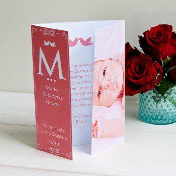 Z okazji chrztu dziewczynki - kartka składana z życzeniami