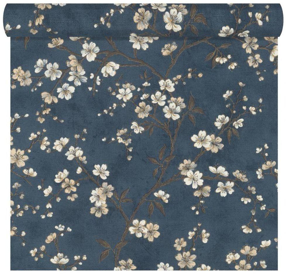 Tapeta w kwiaty FLOWERS niebieska winylowa na flizelinie