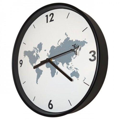 Zegar dookoła świata czarny super cichy /30cm