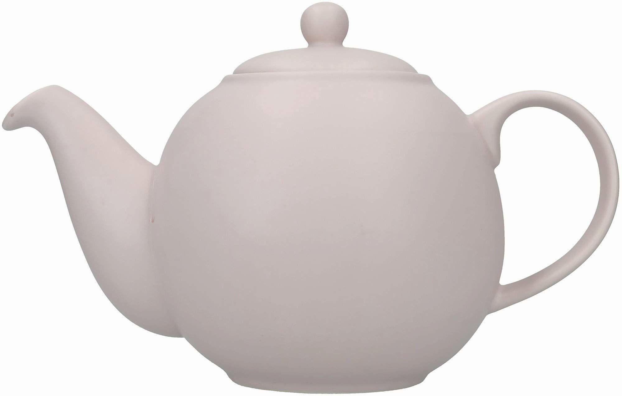 London Pottery Globe duży czajniczek z sitkiem w pudełku upominkowym, ceramiczny, skandynawski różowy, 6 filiżanek (1,2 litra)