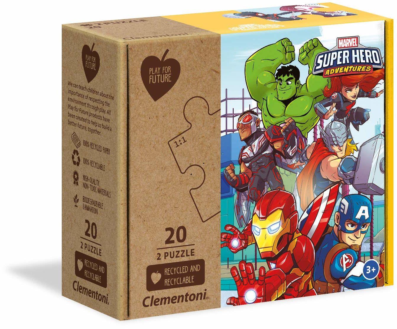 Clementoni 24775 Marvel Super Hero-2 x 20 sztuk - wyprodukowano we Włoszech - 100% materiały z recyklingu, puzzle dla dzieci