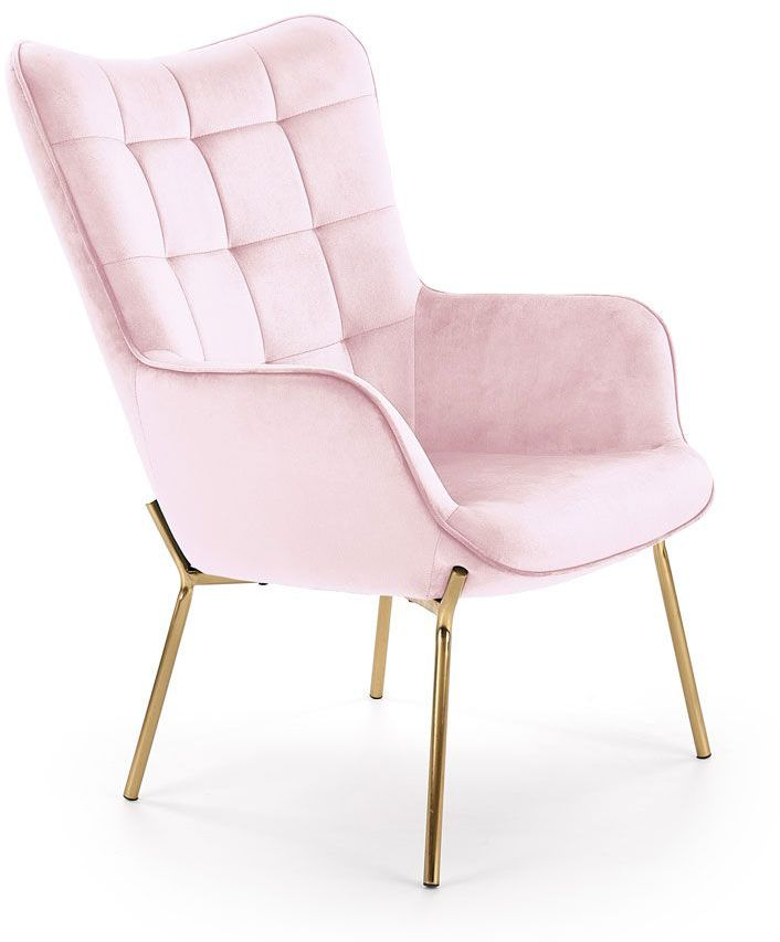 Wypoczynkowy fotel pikowany Zefir 3X - jasny róż