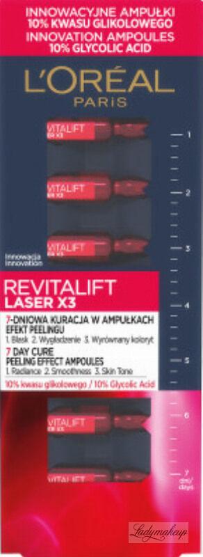 L''Oréal - REVITALIFT LASER X3 - 7 dniowa kuracja w ampułkach - Efekt peelingu