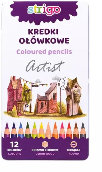 Kredki ołówkowe okragłe 12 kolorów STRIGO
