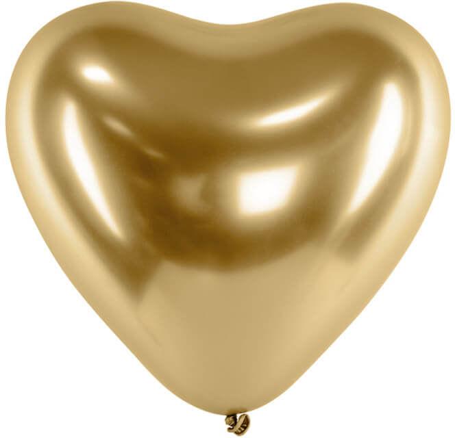 Balony lateksowe Serca Glossy złote - 30 cm - 5 szt.