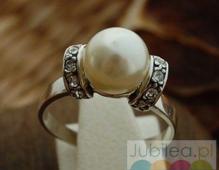 Cannes srebrny pierścionek perła i kryształy