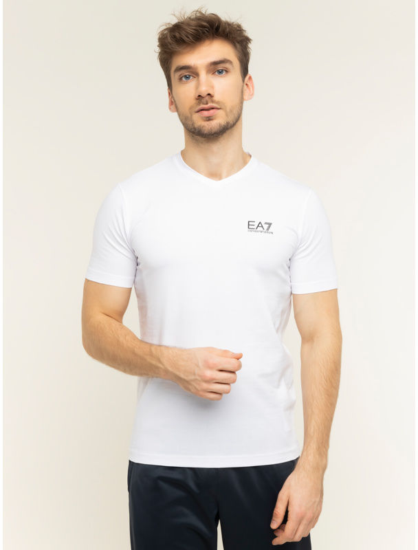 EA7 Emporio Armani T-Shirt 8NPT53 PJM5Z 1100 Biały Regular Fit