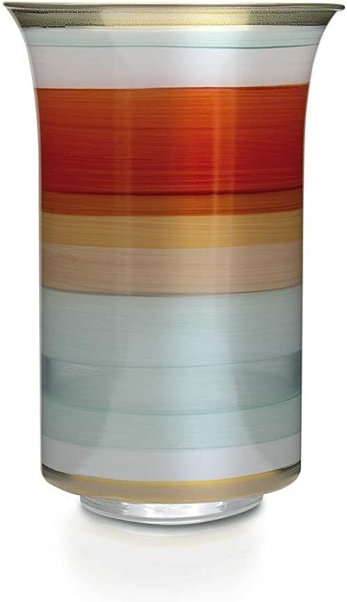 Angela Neue Wiener Werkstätte Wazon Mary -pomarańczowy szklany wazon ręcznie malowany, pozłacany, szkło, 12 cm