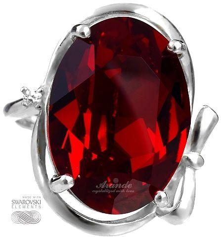 Kryształy przepiękny czerwony pierścionek SREBRO
