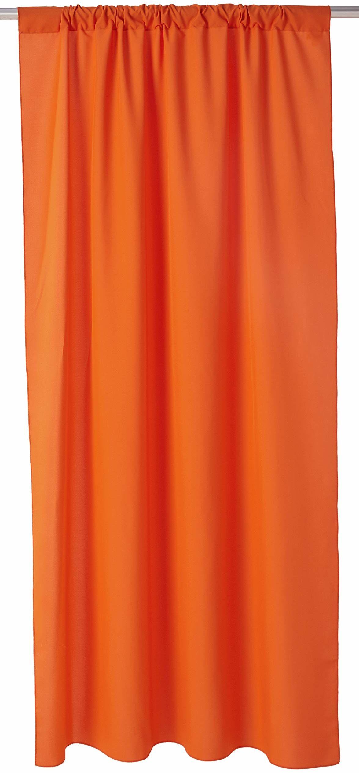 LA lniana popelina w tle zasłona, poliester, pomarańczowy, 250 x 130 cm, opakowanie 2 szt.