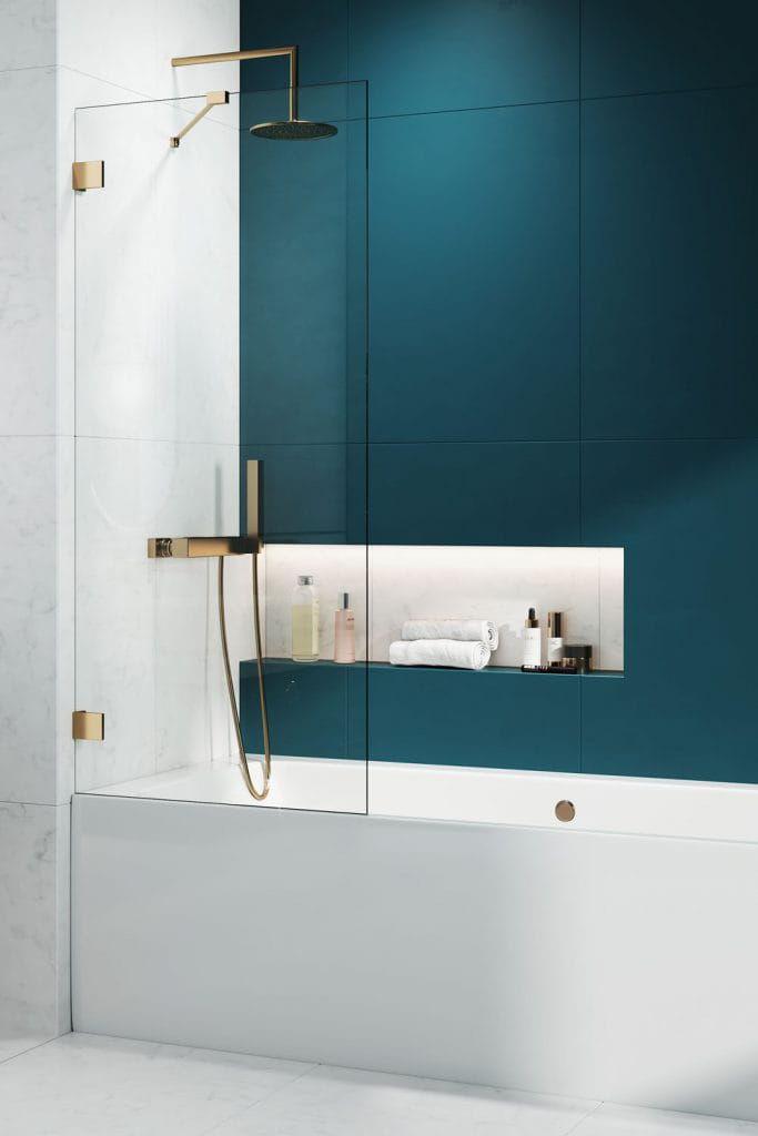 Radaway ESSENZA PRO Gold PNJ II parawan nawannowy 50 cm, wys. 150 cm szkło przejrzyste 10101050-09-01